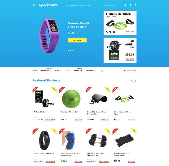 sport store shopify ecommerce html5 theme