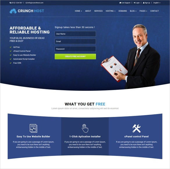 crunchhost responsive bootstrap html template