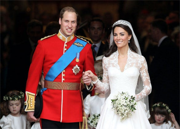 the picture from the especial day of william and kate