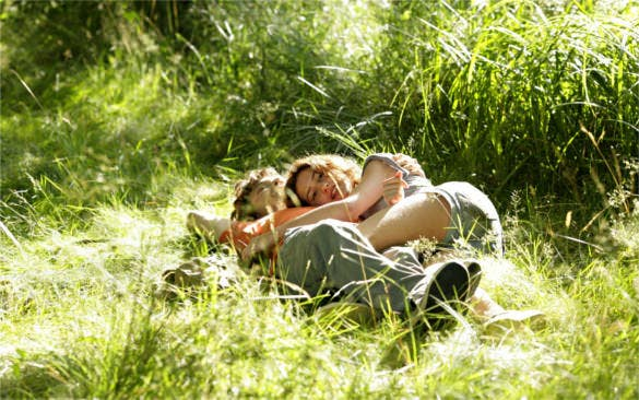 couple love romance in green grass