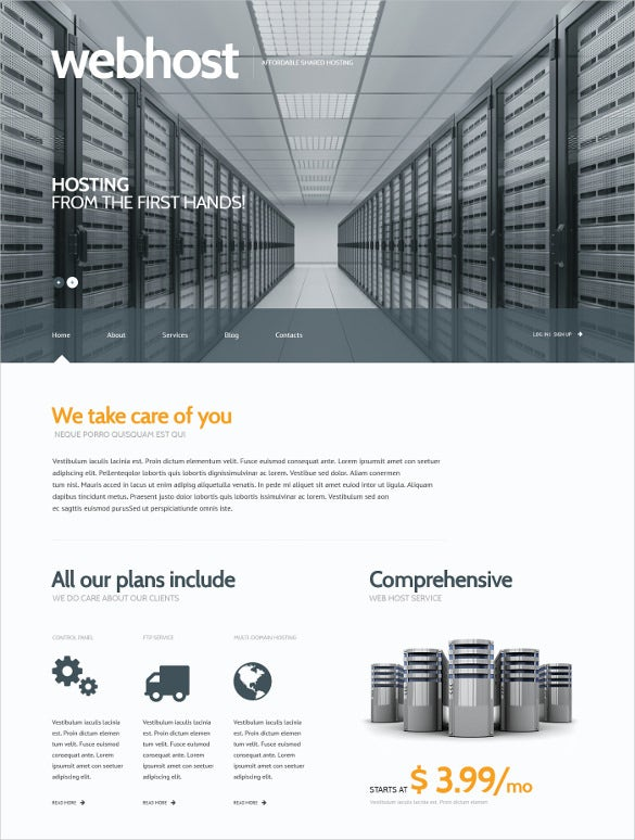 hosting bootstrap responsive wordpress theme