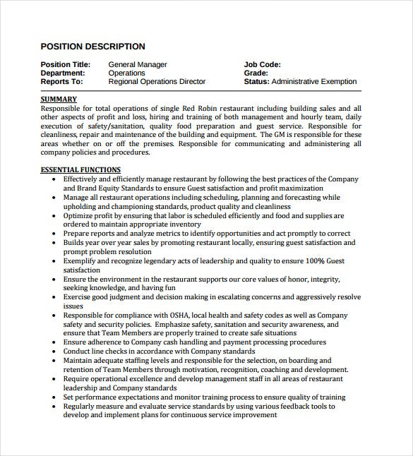 restaurant general manager job description pdf format free download