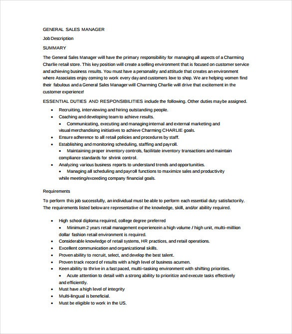 general sales manager job description example template free download