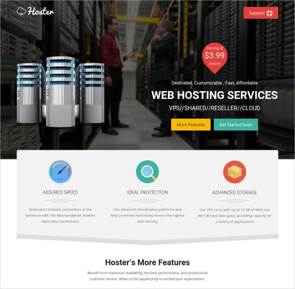hosting service html bootstrap template