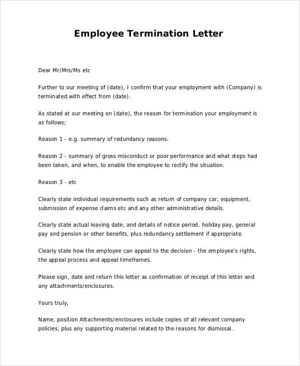 termination letter  u2013 15  free word  pdf documents download