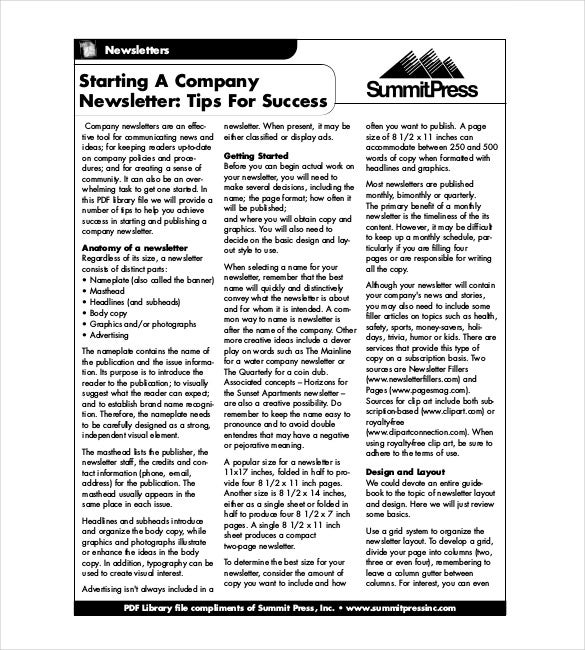 how to create a newsletter in pdf format