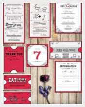 Wedding Invitation Package Classic Red