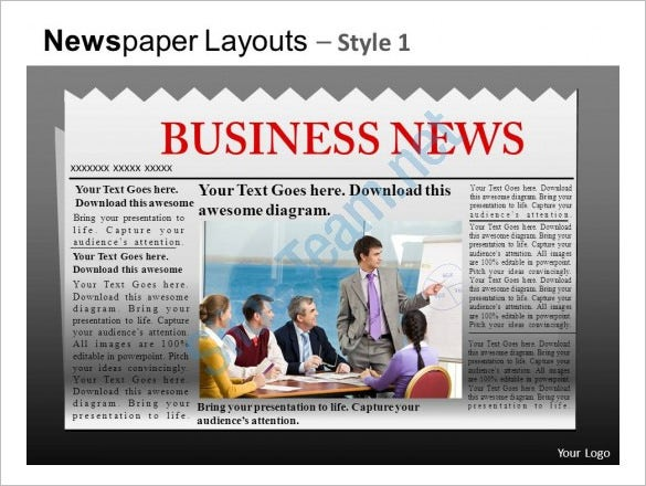 Powerpoint Newspaper Templates  Free Sample Example Format