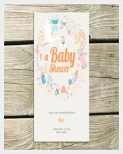 Editorial Baby Shower Card Illustration