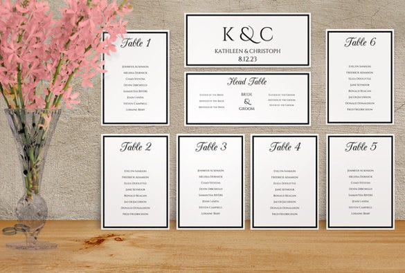 printable wedding seating chart template download