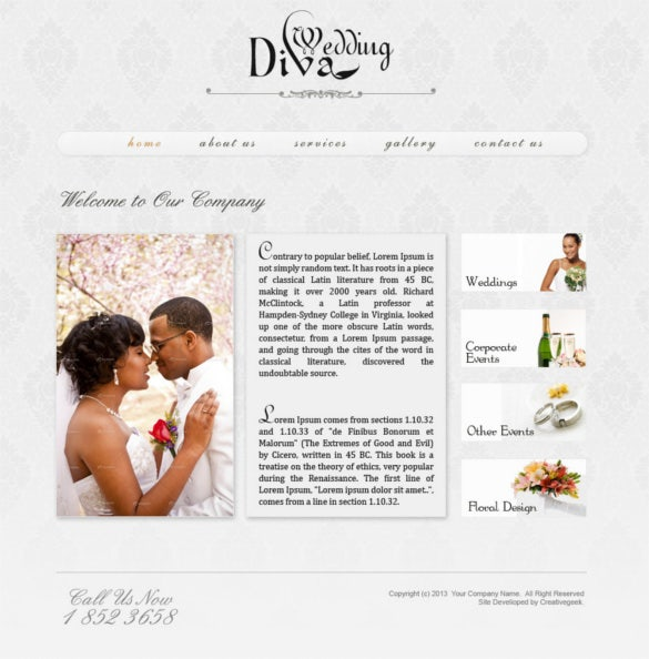 wedding website psd template free download