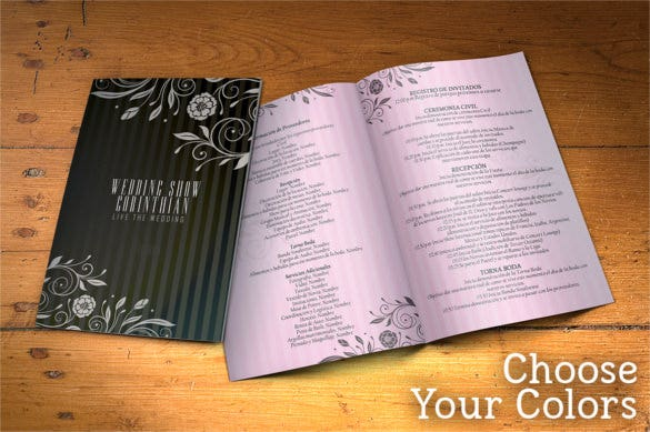 wedding program 2 sides psd template download