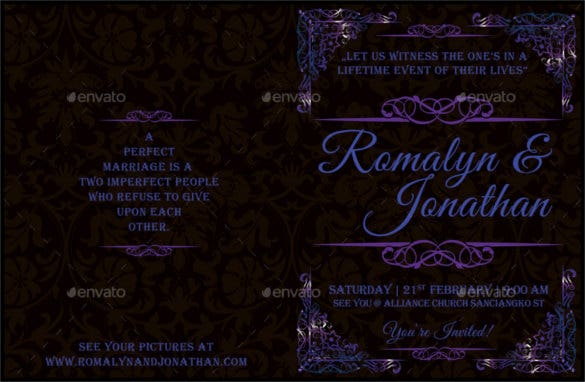 wedding bifold brochure template psd design download