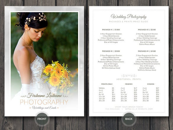 Wedding Rates Photography: 38+ PSD Wedding Templates