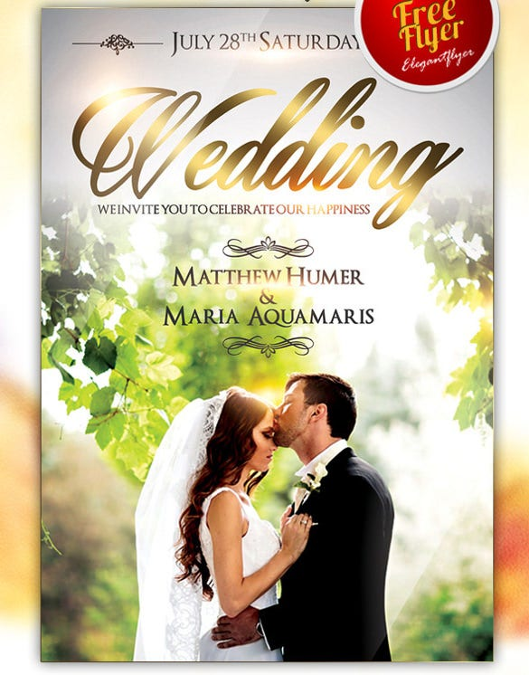 download wedding free flyer psd template design