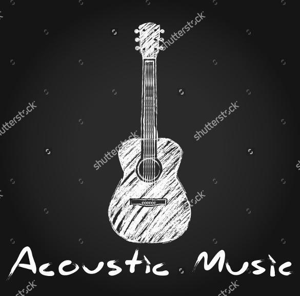acoustic guitar chalk art logo