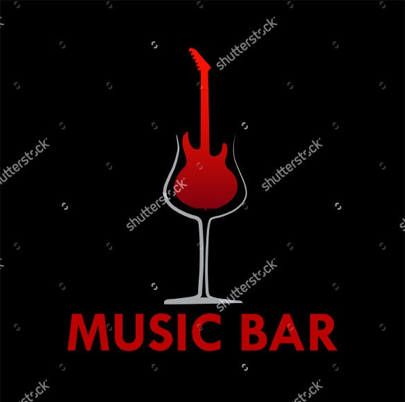 music bar guitar logo