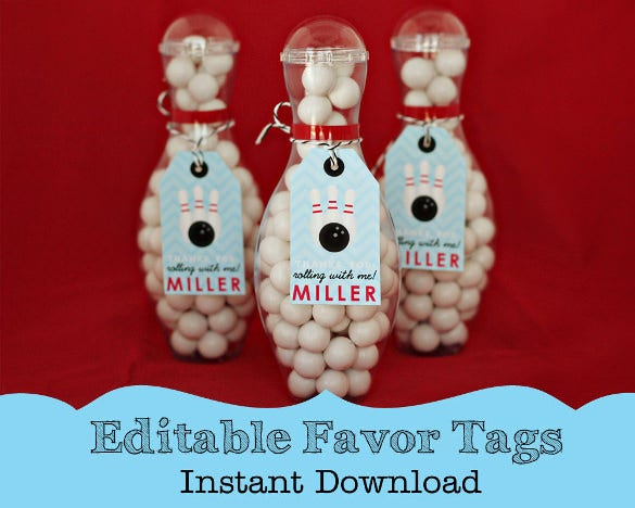 bowling favor tag template download