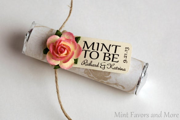 mint to be wedding favor tag template