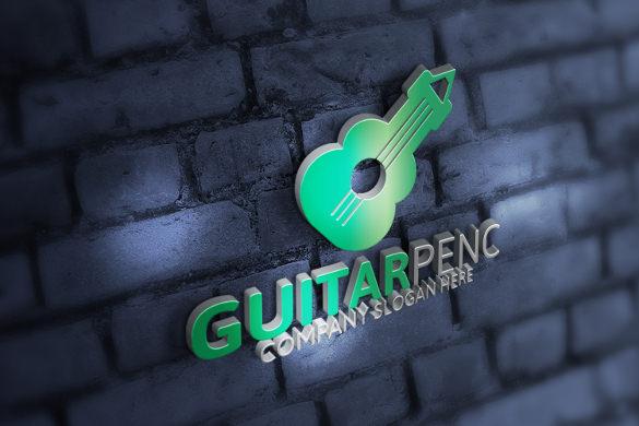 guitar logo on bricks wall