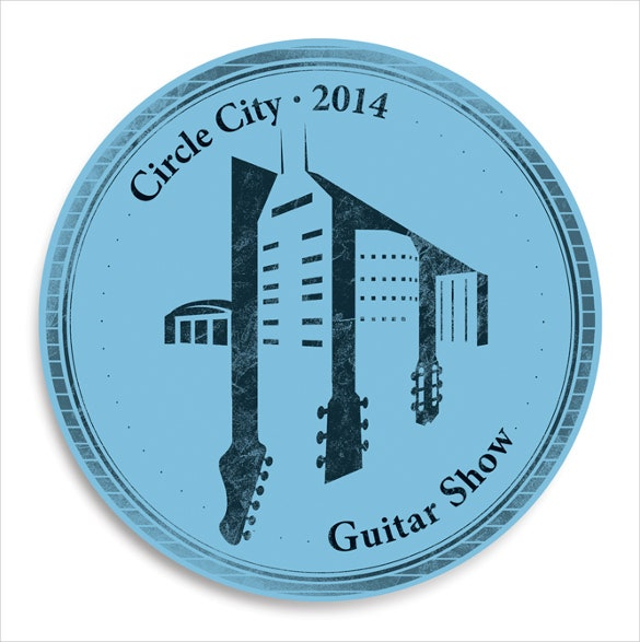 identity guitar logo in circle