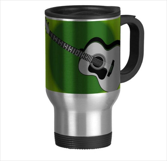 vintage guitar logo stainless steel travel mug
