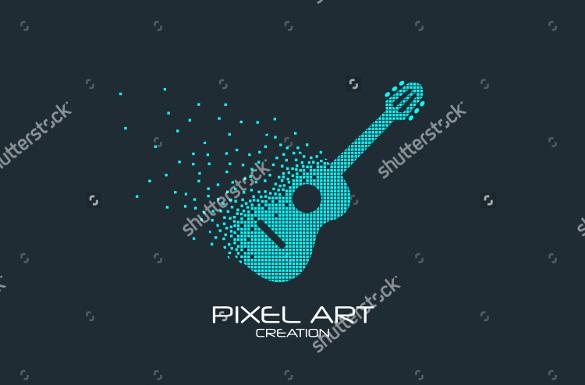 pixel art design of guitar logo