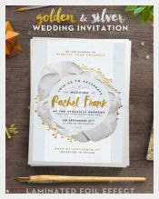 Printable Golden and Silver Wedding Invitation