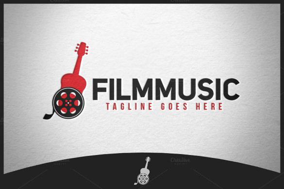 guitar logo with film reel