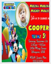 Cute Mickey Mouse Clubhouse Birthday Party Invitation with photo
