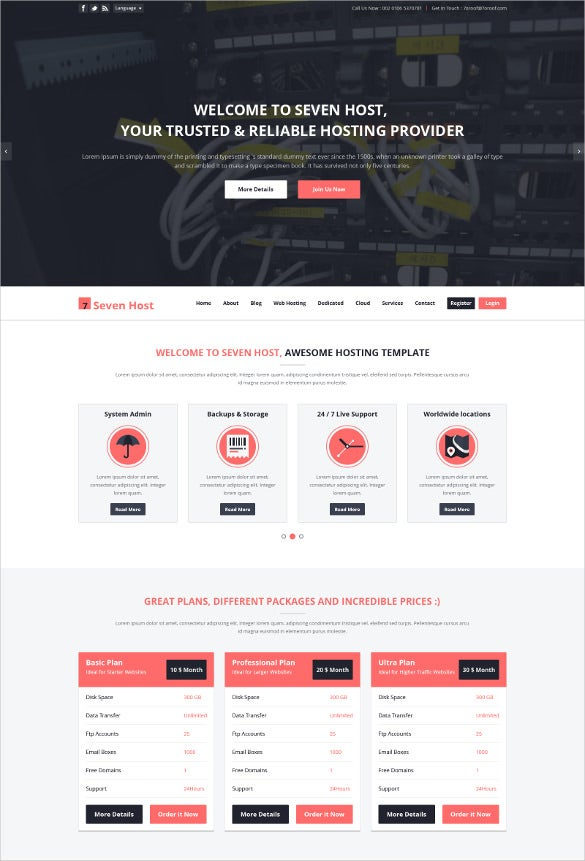 awesome hosting psd template