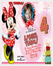 Personalised Birthday Party Invitations of Minnie Mouse