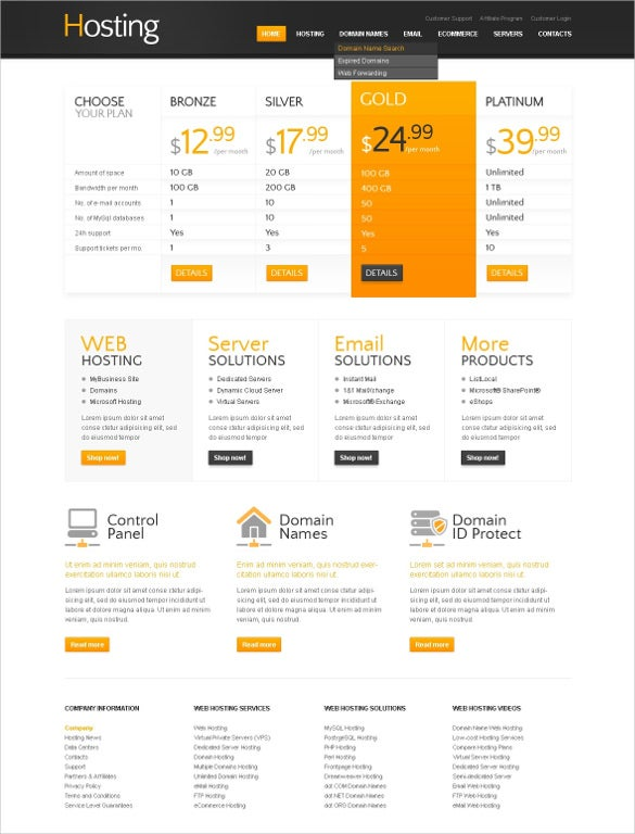 email hosting psd template