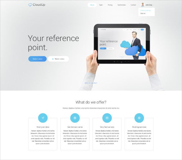 hosting psd one page theme
