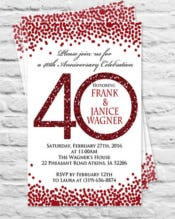 Birthday or wedding anniversary Party Invitation or thank you card