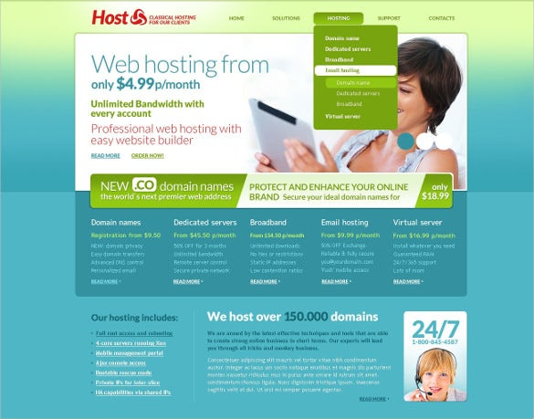 professional hosting psd template