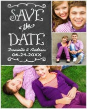 Save the Date Card Black Chalkboard Charm