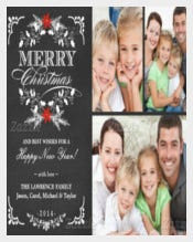 Elegant Holly Chalkboard Christmas 3-Photo Collage 5x7 Paper Invitation Card