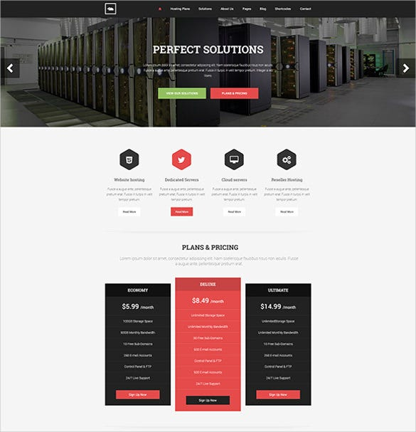 shared hosting psd template