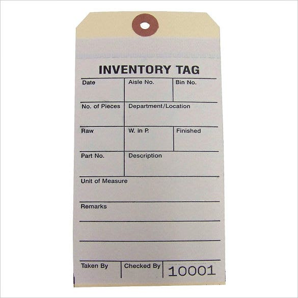 Inventory Tag Templates  Free Sample Example Format Download