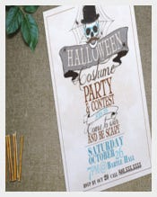Halloween-Costume Party-Invitation On Cloth