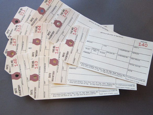 sale 10 perforated inventory tags