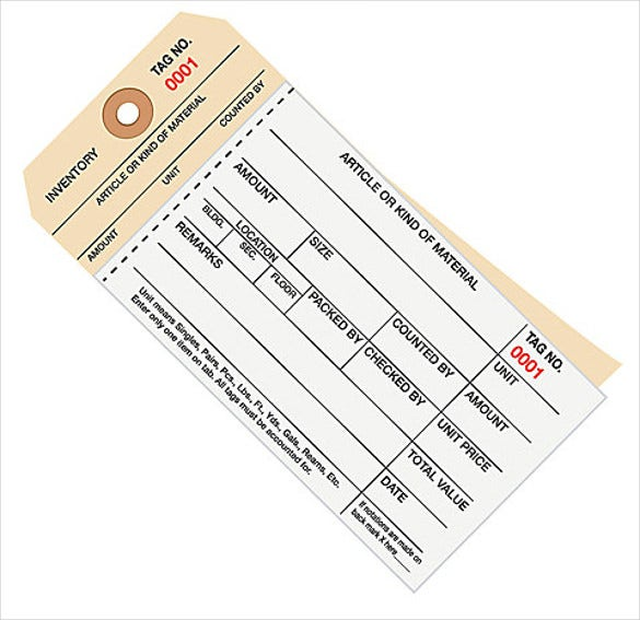manila inventory tags carbonless stub style download
