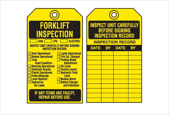 equipment inspection inventory tags