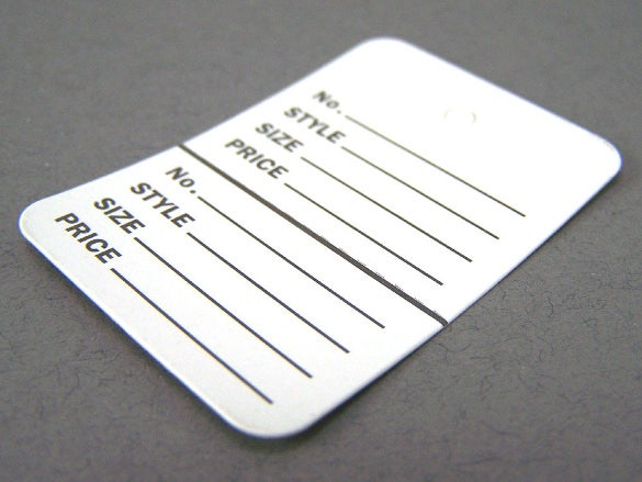 small white perforated inventory tag