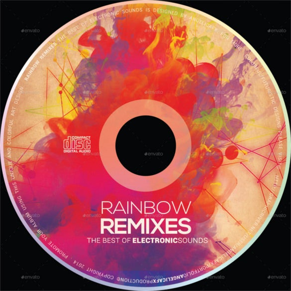 rainbow remixes cd design template psd design