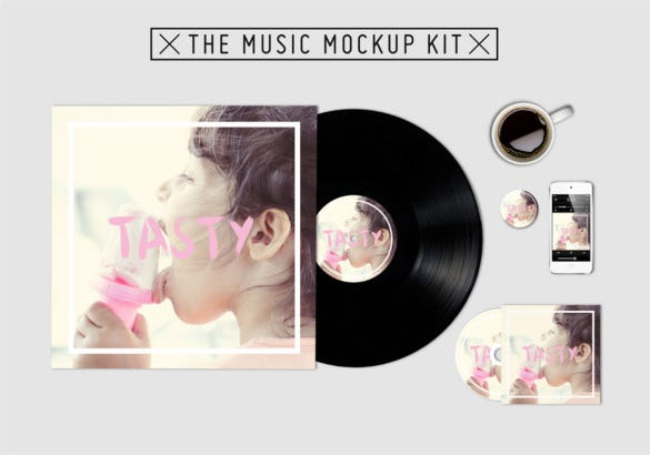 the music kit mockup cd cover template download