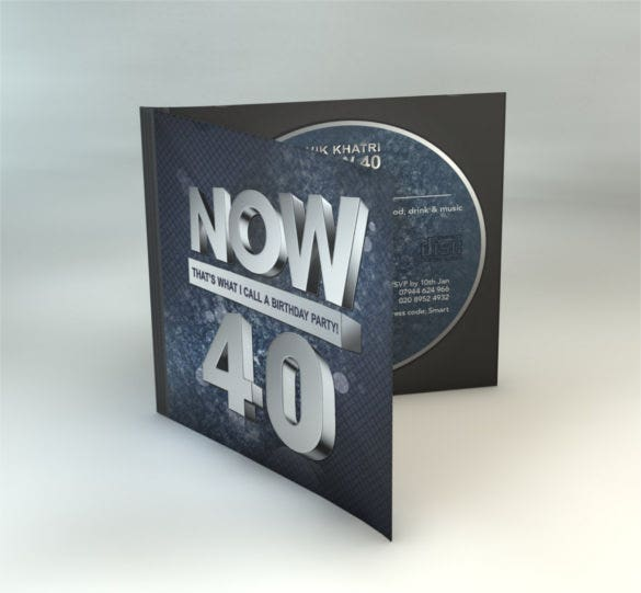 40th birthday cd cover style template download