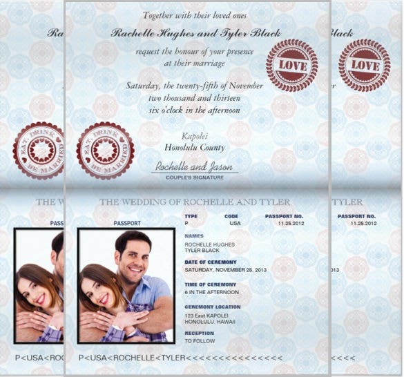passport invitation in blue