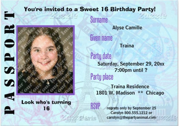 Customizable Passport Sweet 16 Party Invitation